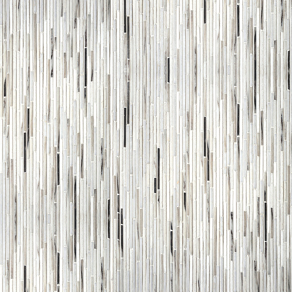 Tatami, a hand-cut stone mosaic, shown in honed Cashmere, honed Angora, and polished Afyon White.