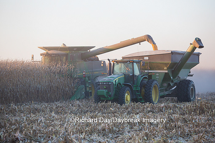 63801-06611 John Deere combine harvesting corn while unloading corn into wagon, Marion Co., IL
