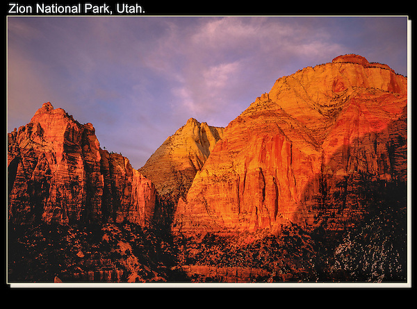 Winter sunset in Zion National Park, Utah.<br /> Outside Imagery offers Zion National Park photo tours. Year-round Utah photo tours.