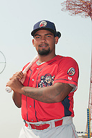 Williamsport Crosscutters catcher Deivi Grullon (29) prior to game against the Brooklyn Cyclones at MCU Park on July 21, 2014 in Brooklyn, NY.  Brooklyn defeated Williamsport  5-2.  (Tomasso DeRosa/Four Seam Images)