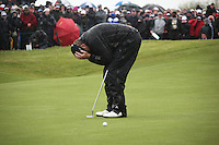 Shane Lowry(AM)winner of the irish open after 3 playoff holes against Robert Rock at the final round at the 3 Irish open in Co Louth Golf Club..Pictured on the 18th green after missing his put and sending him on a playoff.Photo: Fran Caffrey/www.golffile.ie..