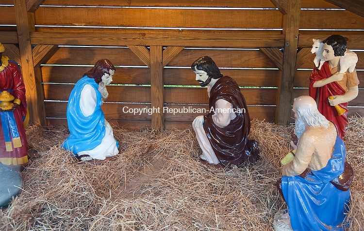 NAUGATUCK,  CT-122816JS05--Vandals stole the baby Jesus from the Creche on the Naugatuck Green and destroyed some the decorations. <br /> Jim Shannon Republican-American