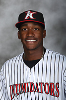 Kannapolis Intimidators outfielder Micker Aldofo (27) poses for a photo at Kannapolis Intimidators Stadium on April 5, 2017 in Kannapolis, North Carolina.  (Brian Westerholt/Four Seam Images)