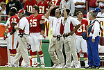 31 October 2004: Chiefs' head coach Dick Vermeil (center) reacts after the Chiefs were called for two defensive pass interference plays less than a minute apart in the first quarter. The Kansas City Chiefs defeated the Indianapolis Colts 45-35 at Arrowhead Stadium in Kansas City, MO in a regular season National Football League game..