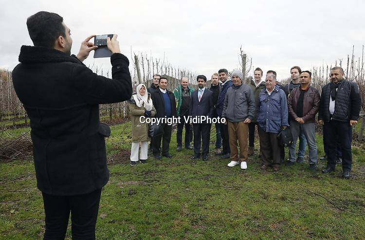 Foto: VidiPhoto<br /> <br /> DODEWAARD &ndash; Voordat een twaalftal Iranse fruittelers dinsdag weer op het vliegtuig naar huis stapt, bezoeken ze eerst nog het fruitteeltbedrijf T&amp;G De Vree Fruit in Dodewaard. Daar hebben ze het meest geleerd, volgens eigen zeggen na afloop. Het bezoek aan de Betuwse teler is de afsluiting van een Europese rondreis aan diverse teeltbedrijven. Doel is om in de fruitteelt meer Europese teelttechnieken en automatosering te introduceren. Nederland is na de VS het tweede exportland ter wereld als het gaat om agrarische producten. Bovendien staat het Nederlandse fruit bekend als het beste ter wereld. De Vree Fruit is een voorbeeldbedrijf in de fruitteeltsector met veel nieuwe conceptrassen in zowel de peren- als appelteelt. Het bedrijf is sinds kort ook gecertificeerd als Planet Proof, de hoogste vorm van duurzaam telen. De studiereis is georganiseerd door kennisinstituut TGS in samenwerking met de Wageningen Universiteit.
