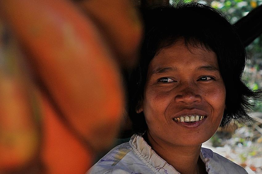 Vendor selling red Bananas on Phnom Kulen, Cambodia