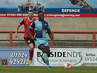 Aaron Pierre of Wycombe Wanderers on the attack against Ryan Edwards of Morecambe during the Sky Bet League 2 match between Morecambe and Wycombe Wanderers at the Globe Arena, Morecambe, England on 29 April 2017. Photo by Stephen Gaunt / PRiME Media Images.