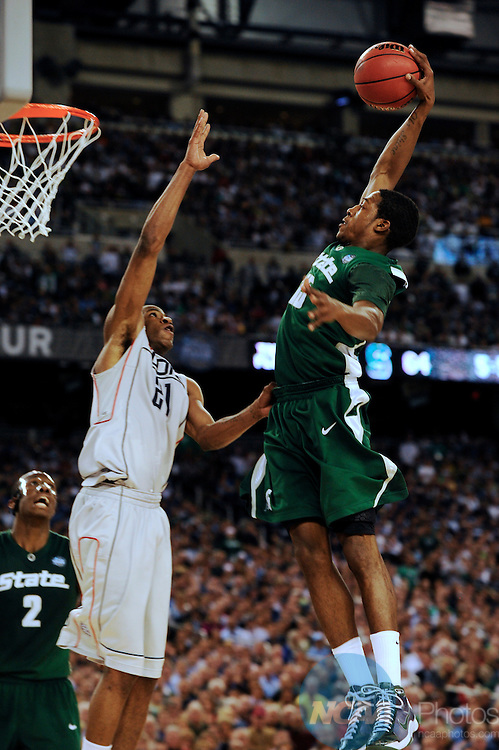 2009 APR 04: Durrell Summers (15) of Michigan State University dunks the ball over the block attempt by Stanley Robinson (21) of the University of Connecticut during the semifinal game of the 2009 NCAA Final Four Division I Men's Basketball championships held at Ford Field in Detroit, MI.  Michigan State defeated Connecticut 82-73 to advance to the championship game. Rich Clarkson/NCAA Photos