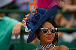 LOUISVILLE, KY - MAY 04: A woman wears a navy fascinator on Kentucky Oaks Day at Churchill Downs on May 4, 2018 in Louisville, Kentucky. (Photo by Eric Patterson/Eclipse Sportswire/Getty Images)