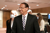 """Former United States Deputy Attorney General Rod Rosenstein leaves after testifies at a Senate Judiciary Committee hearing to discuss the FBI's """"Crossfire Hurricane"""" investigation on Wednesday, June 3, 2020.<br /> Credit: Greg Nash / Pool via CNP/AdMedia"""