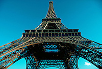 View of Eiffel Tower, looking up from beneath. Paris, France