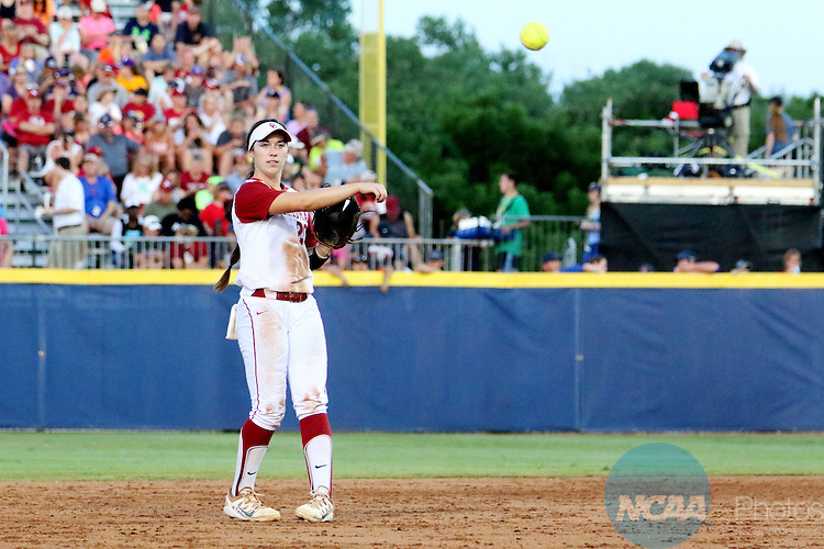 06 JUNE 2016: Caleigh Clifton (20) of University of Oklahoma throws the ball to first base against Auburn University during the Division I Women's Softball Championship held at ASA Hall of Fame Stadium in Oklahoma City, OK.  University of Oklahoma defeated Auburn University in Game 1 by the final score of 3-2. Shane Bevel/NCAA Photos