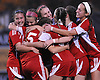 Center Moriches teammates celebrate after a goal by No. 5 Casey Luongo in the second half of the varsity girls' soccer Class B Long Island Championship against Carle Place at Adelphi University on Saturday, November 7, 2015. Center Moriches won 3-2 in overtime.