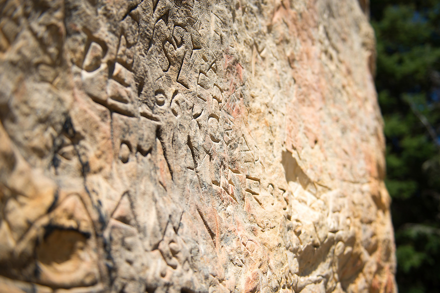 Inscriptions cover the face of History Rock in Hyalite Canyon south of Bozeman, Montana.
