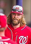 5 March 2016: Washington Nationals outfielder Jayson Werth smiles in the dugout during a Spring Training pre-season game against the Detroit Tigers at Space Coast Stadium in Viera, Florida. The Nationals defeated the Tigers 8-4 in Grapefruit League play. Mandatory Credit: Ed Wolfstein Photo *** RAW (NEF) Image File Available ***