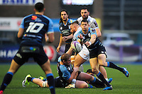 Lloyd Williams of Cardiff Blues passes the ball. European Rugby Challenge Cup match, between Cardiff Blues and Bath Rugby on December 10, 2016 at the Cardiff Arms Park in Cardiff, Wales. Photo by: Patrick Khachfe / Onside Images