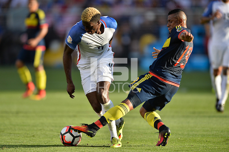 Santa Clara, CA - Friday June 03, 2016: United States forward Gyasi Zardes (9) and Colombia defender Farid Díaz (19) during a Copa America Centenario Group A match between United States (USA) and Colombia (COL) at Levi's Stadium.