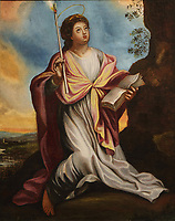 St Genevieve, painting by unknown European artist, 1700-50, restored in 1994 by Patrick Legris from the Musee National d'Ottawa, in the Eglise Notre-Dame-de-la-Visitation, a catholic church built 1878-79 in Neo Romanesque style by Gedeon Leblanc, 1832-1905, in Champlain, Mauricie, on the Chemin du Roy, Quebec, Canada. The interior was designed in 1881 by Louis-Joseph Bourgeois, 1856-1930. The Chemin du Roy or King's Highway is a historic road along the Saint Lawrence river built 1731-37, connecting communities between Quebec City and Montreal. Picture by Manuel Cohen