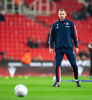 4th November 2019; Bet365 Stadium, Stoke, Staffordshire, England; English Championship Football, Stoke City versus West Bromwich Albion; Stoke City Caretaker Manager Rory Delap during the warm up - Strictly Editorial Use Only. No use with unauthorized audio, video, data, fixture lists, club/league logos or 'live' services. Online in-match use limited to 120 images, no video emulation. No use in betting, games or single club/league/player publications