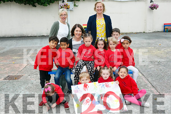 Little House Montessori Childcare, Moyderwell celebrating 20 years in Business. Pictured staff Helen Brick, Tess Green and Erin Lyons with pupils