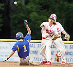 MIDDLETOWN CT. 09 June 2018-060918SV13- #22 Nicholas Trager of Wolcott completes the double play with a throw to first as #1 Ethan Szerszen of Seymour slides in safe in the 4th inning during the CIAC Class M baseball championship in Middletown Saturday. #3 Jake Todice of Seymour met him at the plate.<br /> Steven Valenti Republican-American