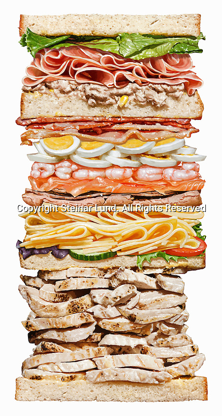 Huge sandwich with lots of layers