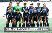 Seattle, WA - Thursday July 27, 2017: Japan starting eleven during a 2017 Tournament of Nations match between the women's national teams of the Japan (JAP) and Brazil (BRA) at CenturyLink Field.