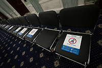 Seats are labelled to adhere to social distancing restrictions during a United States Senate Special Committee on Aging hearing at the United States Capitol in Washington D.C., U.S., on Thursday, June 11, 2020.  Credit: Stefani Reynolds / CNP/AdMedia