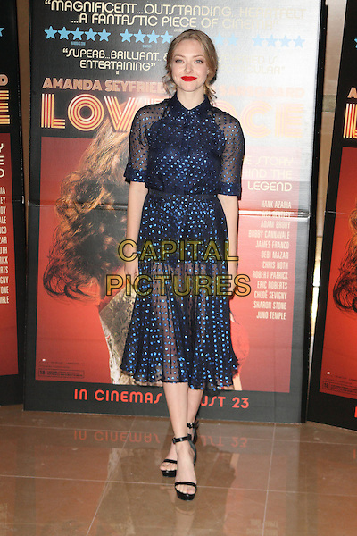 Amanda Seyfried<br /> 'Lovelace' special screening at the Mayfair Hotel, London, England.<br /> 12th August 2013<br /> full length dress open toe ankle strap shoes black blue sheer red lipstick <br /> CAP/ROS<br /> &copy;Steve Ross/Capital Pictures