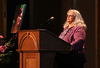 Susan Bro, mother to Heather Heyer, spoke during a memorial for her daughter Wed., August 16, 2017, at the Paramount Theater in Charlottesville, Va. Heyer was killed the previous weekend when a vehicle drove into a crowd of counter-protestors after the Unite The Right rally. Photo/Andrew Shurtleff