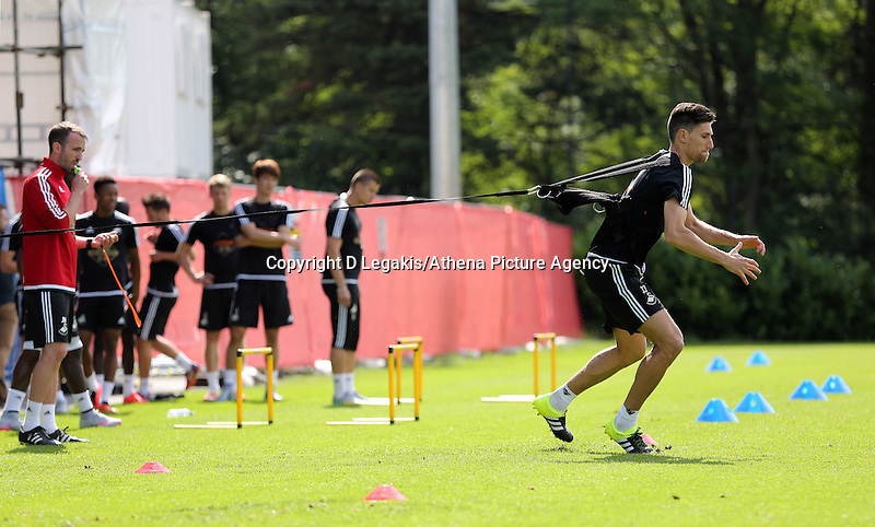 Thursday 09 July 2015<br /> Pictured: Federico Fernandez on the Run Rocket<br /> Re: Swansea City FC pre-season training at Landore training ground, Swansea, south Wales, UK.