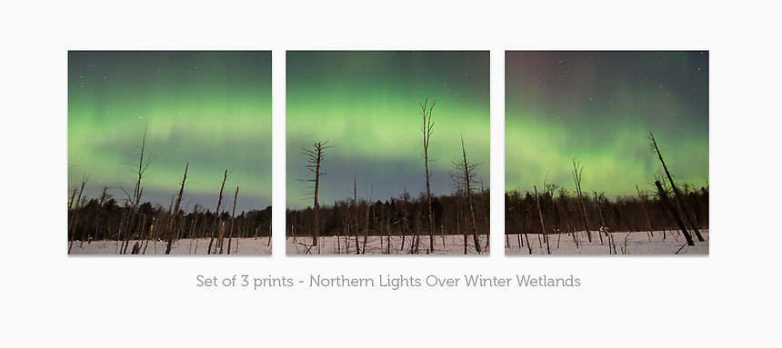 Display a print in a different way with this 3-print photo split of the beautiful Northern Lights over a frozen landscape of the Upper Peninsula of Michigan.
