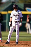 Eric Cheray (14) of the Missouri State Bears leads off second base during a game against the Southern Illinois University- Edwardsville Cougars at Hammons Field on March 10, 2012 in Springfield, Missouri. (David Welker / Four Seam Images)
