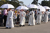 Fatima's pilgrims walking at Fatima Santuary during the procession  of Fatima in central Portugal .Thousands of pilgrims converged on Fatima Santuary to celebrate the anniversary of the Fatima miracle when three shepherd children claimed to have seen the Virgin Mary in May 1917. Reportedly the aparition of a shining lady told the children - Lucia, Francisco, and Jacinta - to meet her in the same place on the 13th day of each month until October.