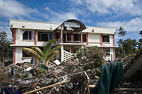 The Matamatgi Motel at Lalomanu, the area worst hit by the tsunami. More than 170 people died when a tsunami triggered by an 8.3 magnitude earthquake hit Samoa and neighbouring Pacific islands on 29/09/2009. Samoa (formerly known as Western Samoa)..