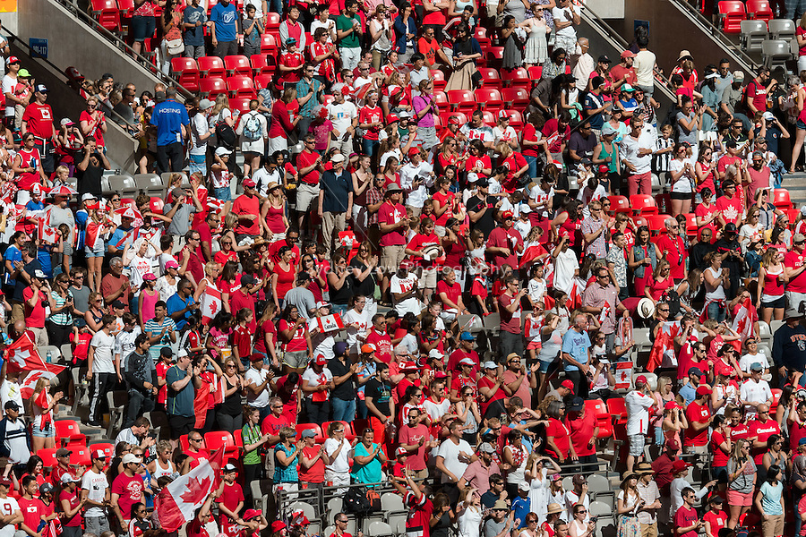 June 21, 2015: Canadian fans at the round of 16 match between Canada and Switzerland at the FIFA Women's World Cup Canada 2015 at BC Place Stadium on 21 June 2015 in Vancouver, Canada. Canada won 1-0. Sydney Low/Asteriskimages.com