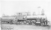 Engineer's-side view of D&amp;RG Mogul #15 posing with her crew at Salida.<br /> D&amp;RG  Salida, CO  prior to 1891