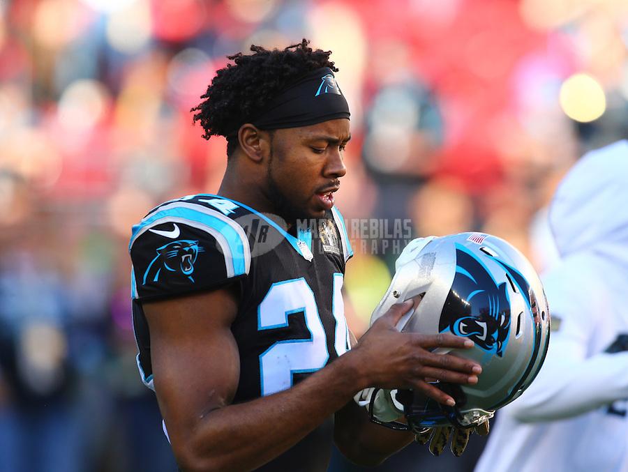 Feb 7, 2016; Santa Clara, CA, USA; Carolina Panthers cornerback Josh Norman (24) against the Denver Broncos during Super Bowl 50 at Levi's Stadium. Mandatory Credit: Mark J. Rebilas-USA TODAY Sports