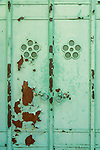Flaking green door at the Gojoten shrine in Ueno Park, Tokyo
