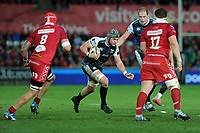 Dan Lydiate of Ospreys  in action during the Guinness Champions Cup play-off match between the Ospreys and Scarlets at the Liberty Stadium in Swansea, Wales, UK.  Saturday 18 May 2019