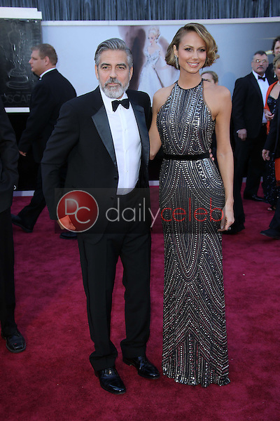 George Clooney, Stacy Keibler<br /> at the 85th Annual Academy Awards Arrivals, Dolby Theater, Hollywood, CA 02-24-13<br /> David Edwards/DailyCeleb.com 818-249-4998