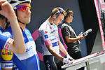 Maglia Bianca holder Maximilian Schachmann (GER) Quick-Step Floors signs on before the start of Stage 2 of the 101st edition of the Giro d'Italia 2018 running 167km from Haifa to Tel Aviv, Israel. 5th May 2018.<br /> Picture: LaPresse/Gian Mattia D'Alberto | Cyclefile<br /> <br /> <br /> All photos usage must carry mandatory copyright credit (&copy; Cyclefile | LaPresse/Gian Mattia D'Alberto)