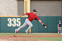 Springfield Cardinals second baseman Irving Lopez (11) flips the ball to first base during a Texas League game against the Frisco RoughRiders on May 6, 2019 at Dr Pepper Ballpark in Frisco, Texas.  (Mike Augustin/Four Seam Images)