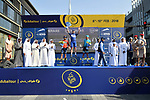 Race leader Elia Viviani (ITA) Quick-Step Floors wins overall with Magnus Cort Nielsen (DEN) Astana Pro Team in 2nd place and Sonny Colbrelli (ITA) Bahrain-Merida 3rd at the end of Stage 5 The Meraas Stage final stage of the Dubai Tour 2018 the Dubai Tour&rsquo;s 5th edition, running 132km from Skydive Dubai to City Walk, Dubai, United Arab Emirates. 10th February 2018.<br /> Picture: LaPresse/Massimo Paolone | Cyclefile<br /> <br /> <br /> All photos usage must carry mandatory copyright credit (&copy; Cyclefile | LaPresse/Massimo Paolone)