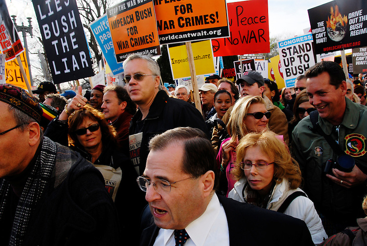 Jerrold Nadler, D-NY, along with actors Susan Sarandon and Tim Robbins march in the Anti-War Protest on the Mall in Washington, D.C.