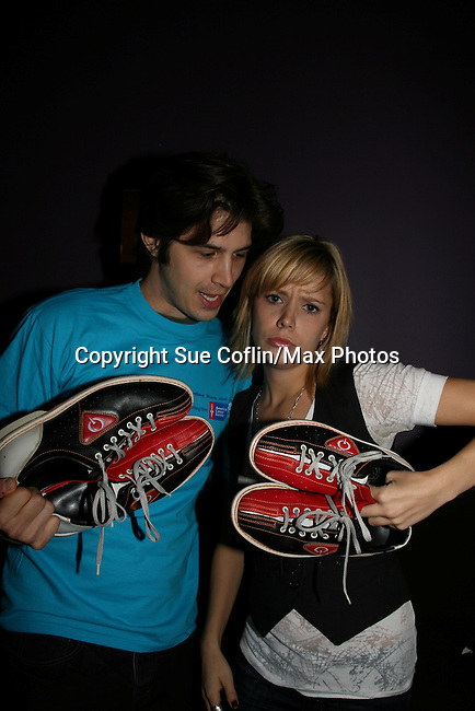 "As The World Turns' Marnie Schulenburg ""Alison"" & Alex Cole ""Hunter"" at the 2009 Daytime Stars and Strikes to benefit the American Cancer Society on October 11, 2009 at the Port Authority Leisure Lanes, New York City, New York. (Photo by Sue Coflin/Max Photos)"