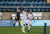 John Akinde (left) of Barnet celebrates his goal with Mauro Vilhete of Barnet during the Sky Bet League 2 match between Wycombe Wanderers and Barnet at Adams Park, High Wycombe, England on 22 October 2016. Photo by Kevin Prescod.