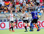 MOENCHENGLADBACH, GERMANY - JULY 28: Match between Germany (white) and Spain (red) in Pool D during the Hockey Junior World Cup at the Warsteiner HockeyPark on July 28, 2013 in Moenchengladbach, Germany. Final score 2-2. (Photo by Dirk Markgraf/www.265-images.com) *** Local caption *** #16 Viola Scharf of Germany, #18 Sarah Sprink of Germany, #1 Lisa Schneider of Germany