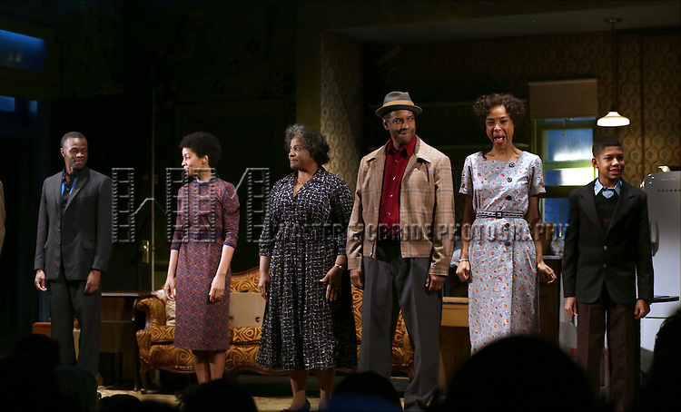 "Sean Patrick Thomas, Anika Noni Rose, LaTanya Richardson, Denzel Washington, Sophie Okonedo and  Bryce Clyde Jenkins during the Broadway Opening Night Curtain Call for  ""A Raisin In The Sun""  at the Barrymore Theatre on April 3, 2014 in New York City."