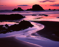 Sunset light on the Pacific Ocean at Ruby Beach; Olympic National Park, WA